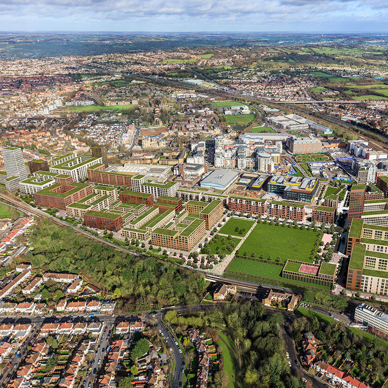 An aerial view of Colindale Gardens
